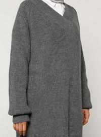 Gray - V neck Collar - Acrylic - - Jumper