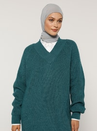 Green - V neck Collar - Acrylic - - Jumper