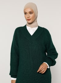 Green - Emerald - V neck Collar - Acrylic - - Jumper