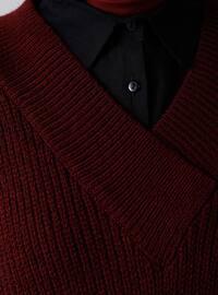 Maroon - V neck Collar - Acrylic -  - Jumper
