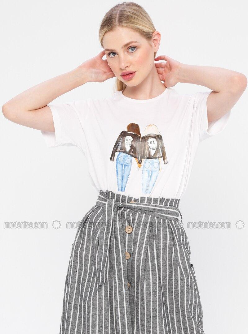 Multi - White - Ecru - T-Shirt
