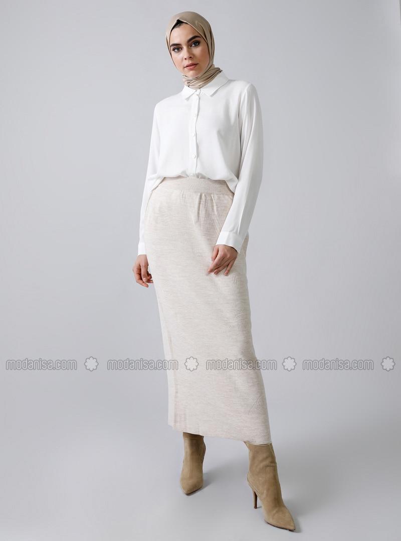 Beige - White - Ecru - Unlined - Acrylic -  - Skirt
