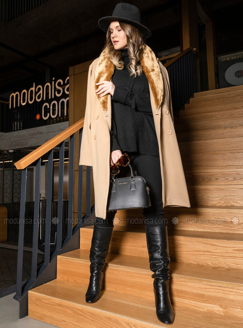 Camel - Fully Lined - Viscose - Plus Size Overcoat