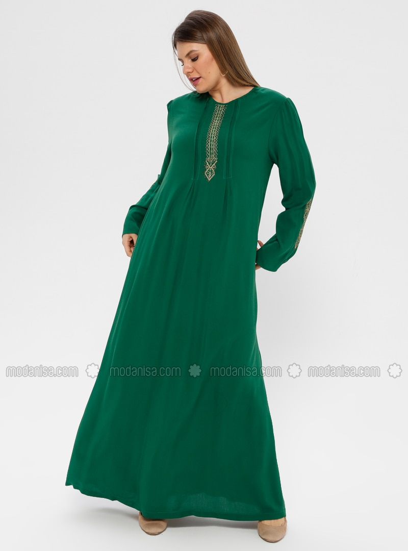 Green - Unlined - Plus Size Dress - Ginezza
