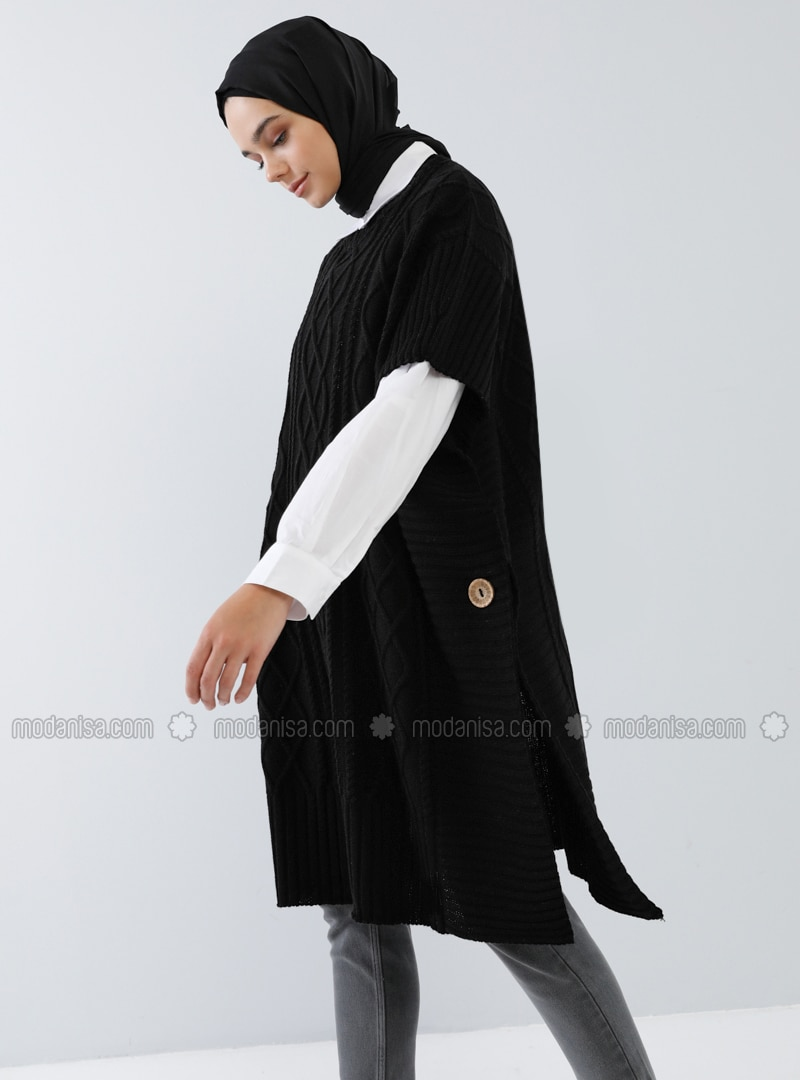 Black - Unlined -  - Poncho