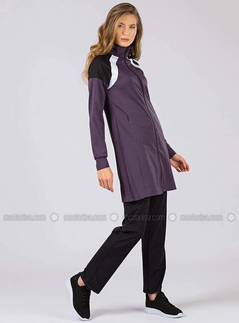 Black - Purple - Cotton - Polo neck - Tracksuit Set