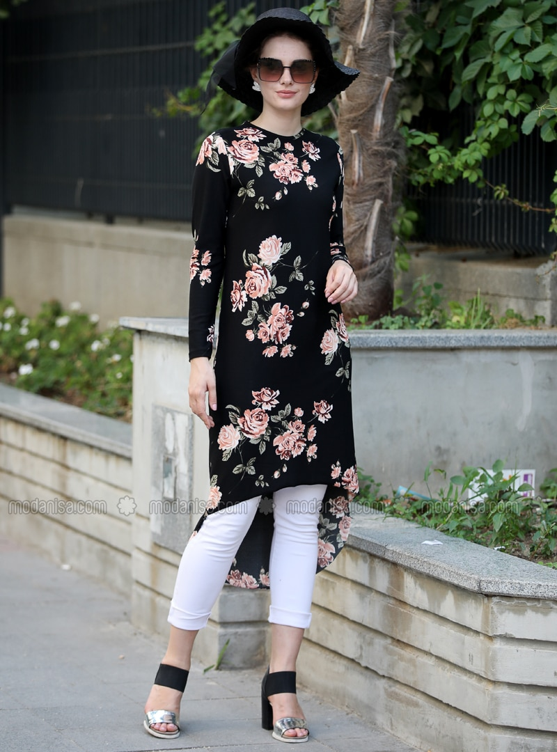 Beige - Black - Multi - Crew neck - Tunic
