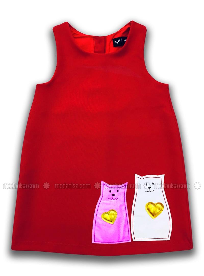 Crew neck - Cotton - Red - Girls` Dress