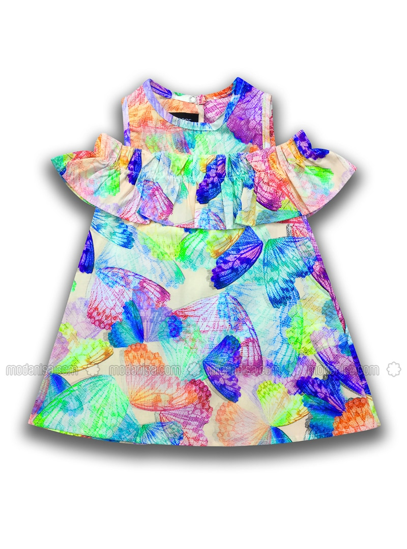Multi - Crew neck - Cotton - Multi - Girls` Dress