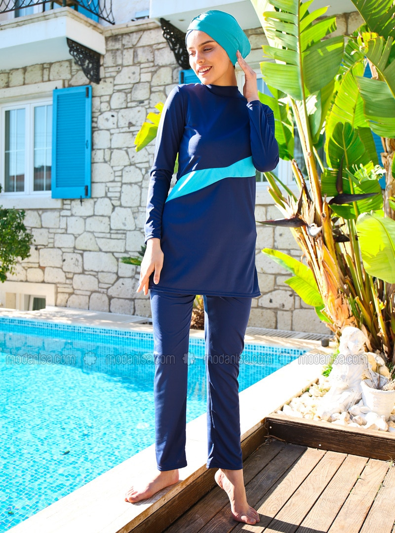 Navy Blue - Fully Covered Swimsuits