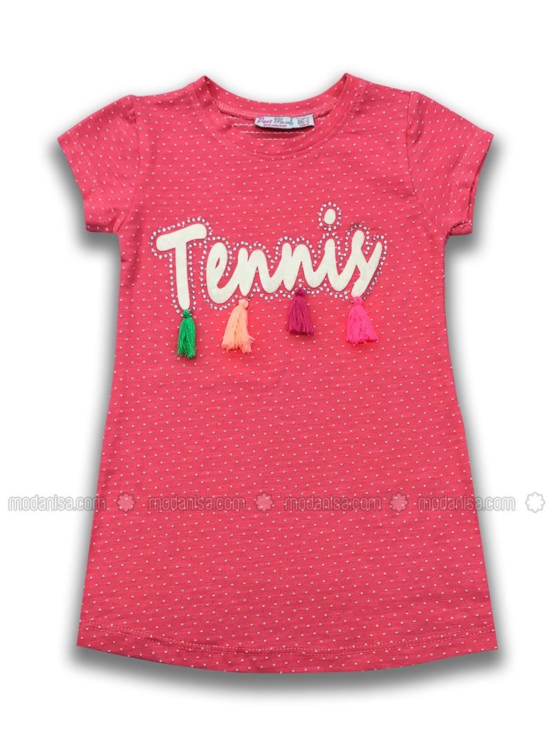 Crew neck - Cotton - Pink - Girls` Dress