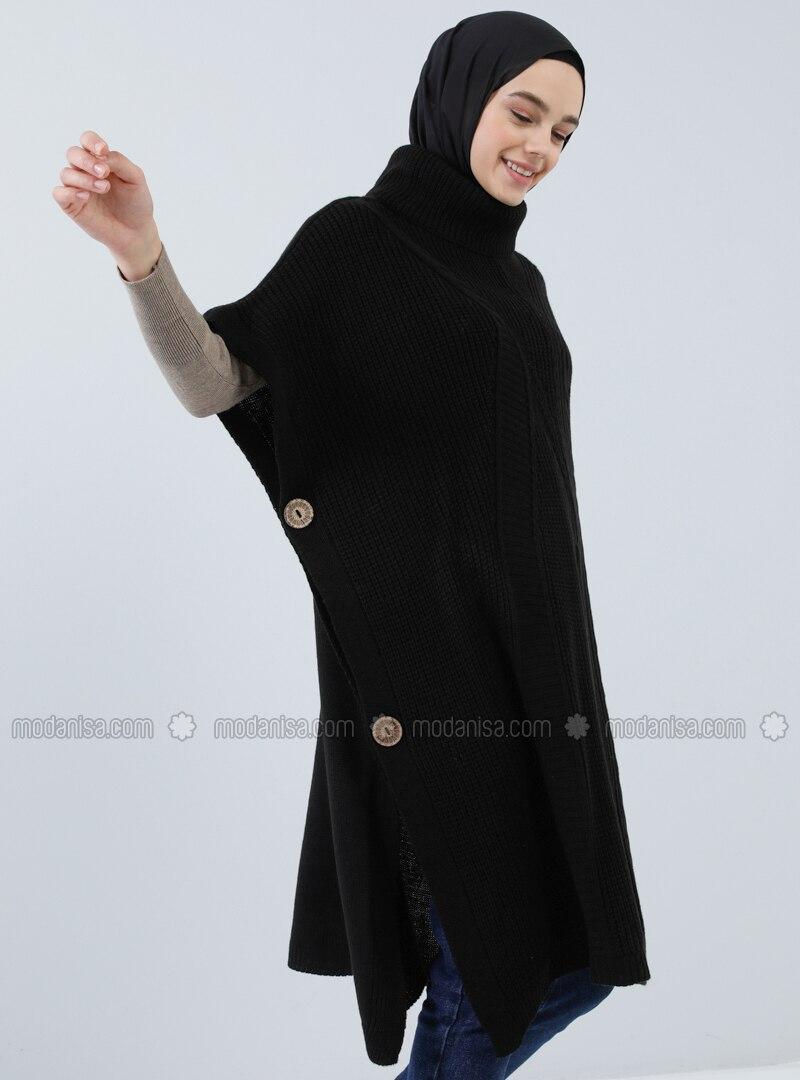 Black - Polo neck - Unlined - Acrylic -  - Poncho