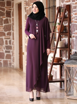 Purple - Unlined - Crew neck - Jumpsuit