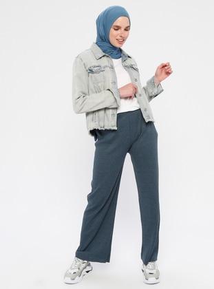 Navy Blue - Cotton - Pants