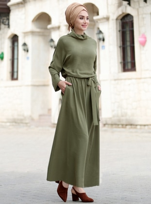 Khaki - Shawl Collar - Fully Lined - Dress