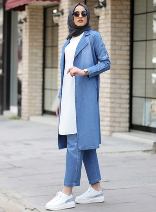 Blue - Unlined - Cotton - Denim - Suit - Piennar