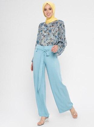 Turquoise - Viscose - Pants
