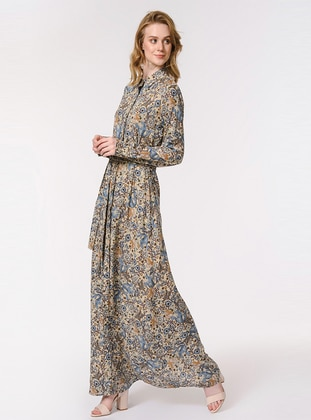 Blue - Multi - Point Collar - Fully Lined - Dress