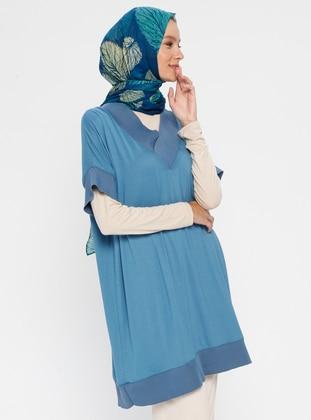 Blue - V neck Collar - Viscose - Tunic