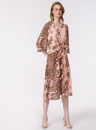 Pink - Leopard - Crew neck - Unlined - Dress