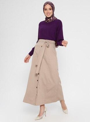 Beige - Fully Lined - Viscose - Skirt