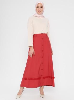 Maroon - Fully Lined - Viscose - Nylon - Skirt