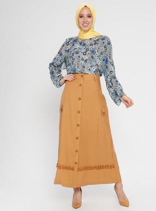 Camel - Fully Lined - Viscose - Nylon - Skirt