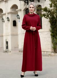 Maroon - Shawl Collar - Fully Lined - Dress