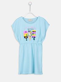 Printed - Turquoise - Girls` Dress
