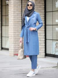 Blue - Unlined - Cotton - Denim - Suit