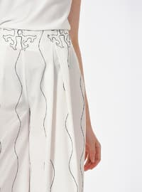 White - Multi - Cotton - Pants