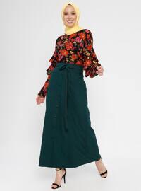 Khaki - Fully Lined - Viscose - Skirt