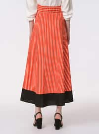 Coral - Stripe - Unlined - Cotton - Skirt
