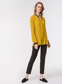 Yellow - Multi - Point Collar - Blouses