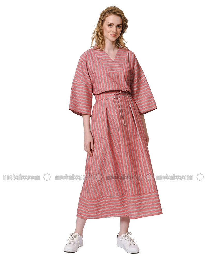 Red - Stripe - Unlined - Cotton - Skirt