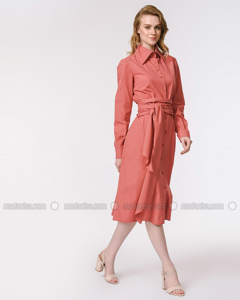Coral - Point Collar - Unlined - Cotton - Dress
