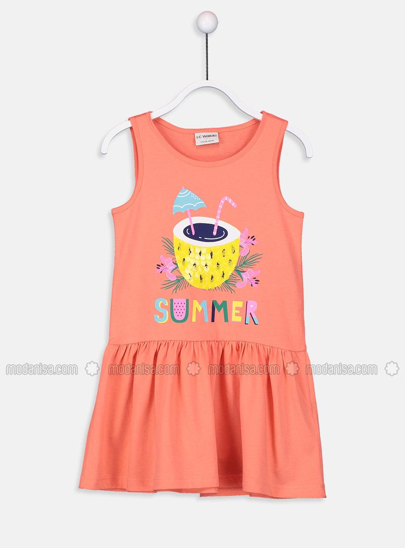 Printed - Coral - Girls` Dress