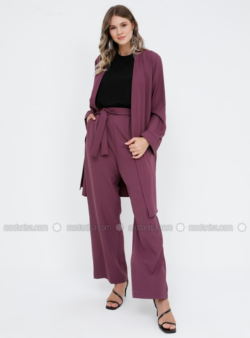 Purple - Unlined - Plus Size Suit