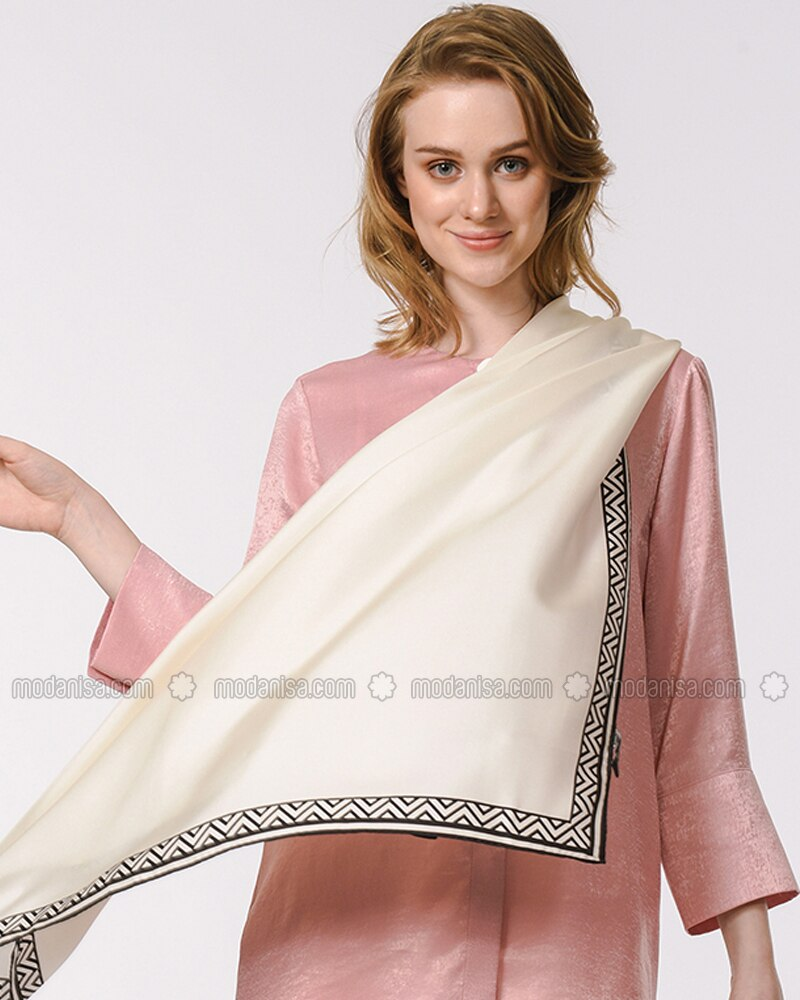 Ecru - Plain - %100 Silk - Shawl