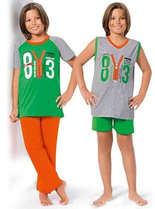 Green - Gray - Boys` Pyjamas