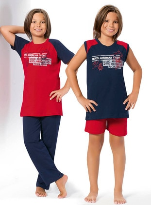 Red - Navy Blue - Boys` Pyjamas