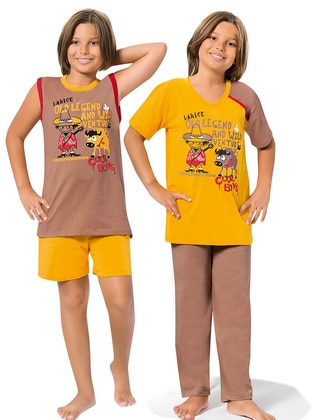Yellow - Brown - Boys` Pyjamas