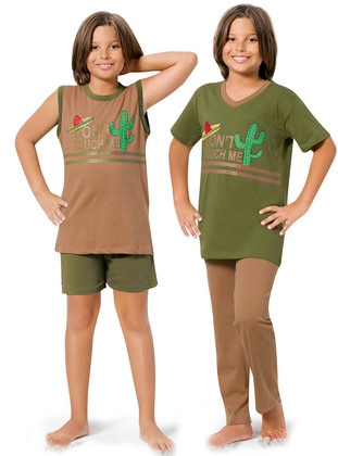 Brown - Khaki - Boys` Pyjamas - Larice Kids