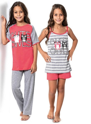 Pink - Gray - Multi - Girls` Pyjamas