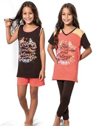 Multi - Crew neck -  - Brown - Girls` Pyjamas