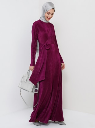 Purple - Unlined - Crew neck - Muslim Evening Dress