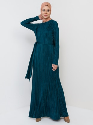 Green - Emerald - Unlined - Crew neck - Muslim Evening Dress