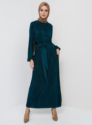 Green - Emerald - Unlined - Crew neck - Muslim Evening Dress