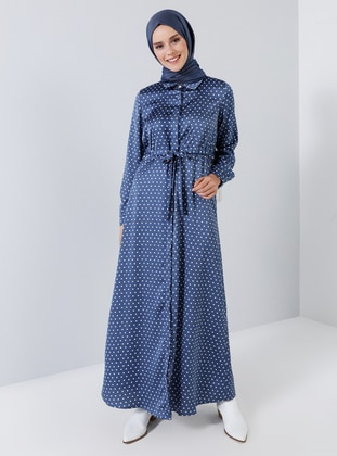 Blue - Polka Dot - Point Collar - Unlined - Dress