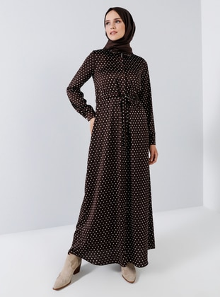 Brown - Polka Dot - Point Collar - Unlined - Dress